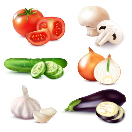 Set of isolated realistic vegetables with slices and pieces of natural mushrooms and ripe raw fruits vector illustration Vecteurs