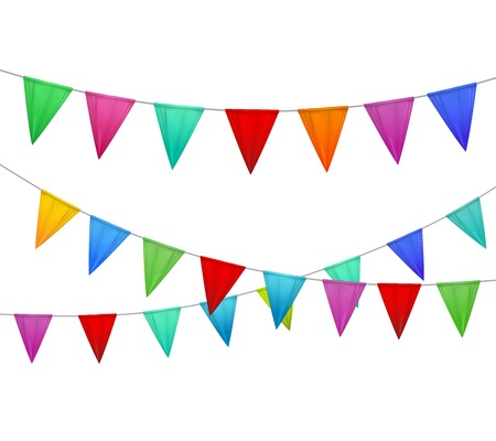 Decorative colorful party slingers pennants red blue yellow orange pink against white background realistic image vector illustration  Ilustracja