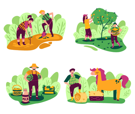 Eco farming compositions set with outdoor scenery and working people characters with domestic products and plants vector illustration