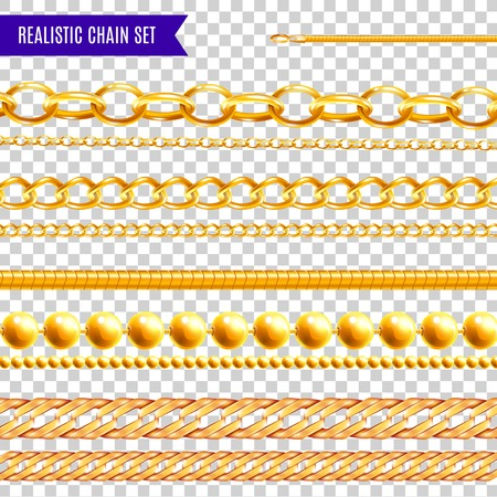 Set of isolated realistic chain transparent colourful images with golden jewelry various patterns and different shapes vector illustration