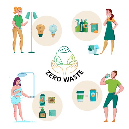 Zero waste concept emblem and 4 flat compositions with ecological natural detergents soap reusable packaging vector illustration