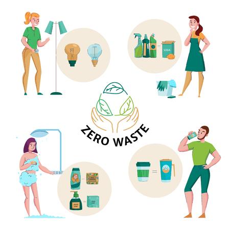 Zero-Waste-Konzept-Emblem und 4 flache Kompositionen mit ökologischer, natürlicher Waschmittelseife, wiederverwendbare Verpackungsvektorillustration