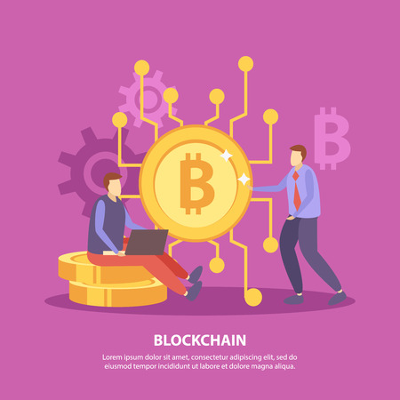 Initial coin offering flat pink background poster with ico bitcoin blockchain crypto currency fundraising symbols vector illustration   Illustration
