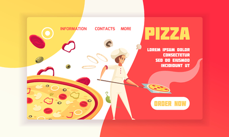Horizontal flat pizza concept banner baker prepare pizza with order now button vector illustration Illustration