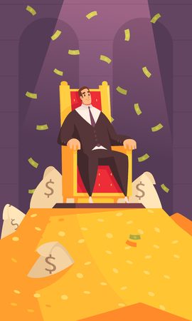 Rich man wealth symbol cartoon composition with millionaire on throne atop gold mount bathing in money vector illustration Çizim
