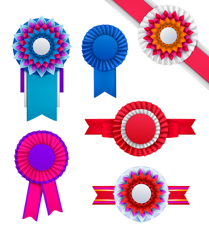 Set of isolated badges rosettes award realistic round order images of different colour on blank background vector illustraion