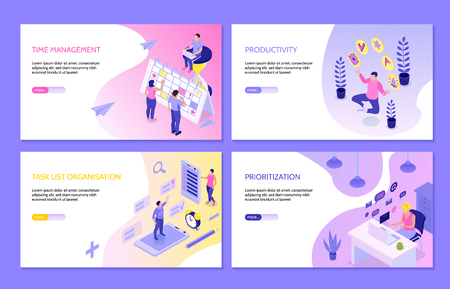 Horizontale Banner des Zeitmanagements mit isometrischer Kompositionen für die Aufgabenlistenorganisation, Produktivitäts-Priorisierung, Vektorillustration Vektorgrafik