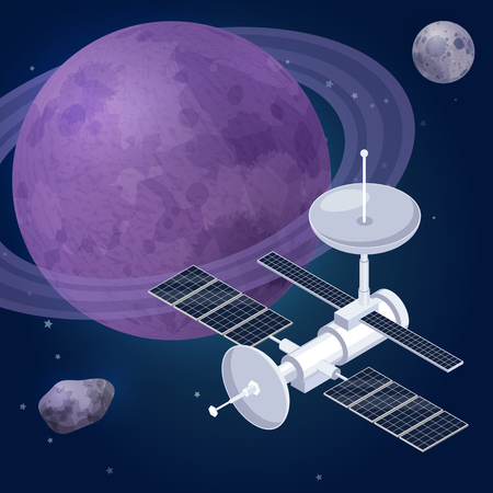 Space exploration isometric composition with view of outer space planets stars and artificial satellite observatory vehicle vector illustration