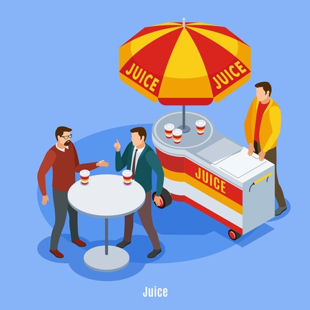 Street vending isometric background with stall under umbrella and two talking people drinking juice outdoors vector illustration