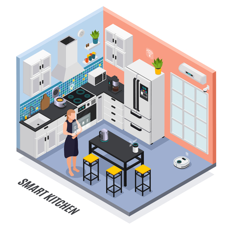 Smart kitchen interior iot devices controlled with touch screen isometric composition with multi cooker fridge vector illustration