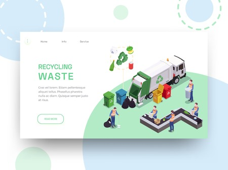 Garbage waste recycling isometric web site landing page design with links editable text and cleaning images vector illustration
