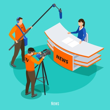 Live news in tv studio isometric background with shooting crew and announcer at working place vector illustration