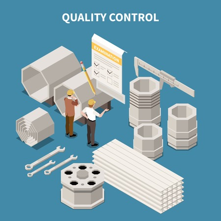 Isometric composition with metal industry products and workers doing quality control 3d vector illustration Illustration