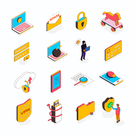 Isometric cyber security collection of sixteen isolated icons with conceptual computer pictograms smart devices and people vector illustration Illusztráció