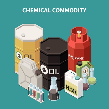Commodity isometric composition with colourful images of oil and gas tanks canisters vials and glass tubes vector illustration