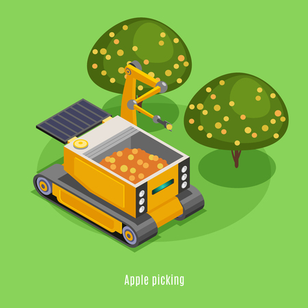 Agricultural harvesting robots isometric composition with automated robotic arm machinery picking fruits from trees background vector illustration