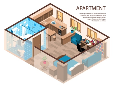 One room apartment efficient design isometric composition with bed corner study area furniture kitchen bathroom vector illustration