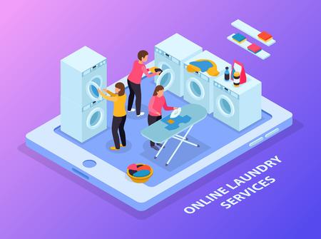 Isometrische Zusammensetzung der Waschküche mit konzeptionellem Bild von Tablet- und Wäscheausrüstung mit Menschen auf Touchscreen-Vektorillustration Vektorgrafik