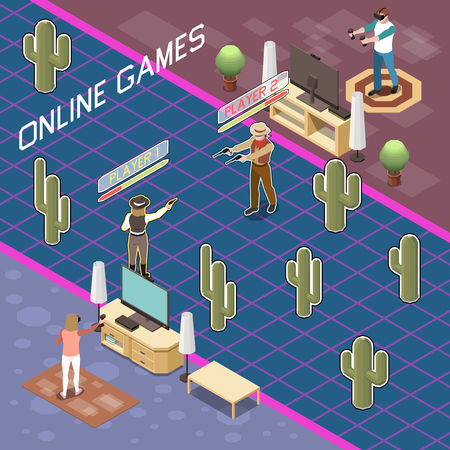 Gaming gamers isometric composition with view of people playing battle game with wearable accessories and text vector illustration Ilustração