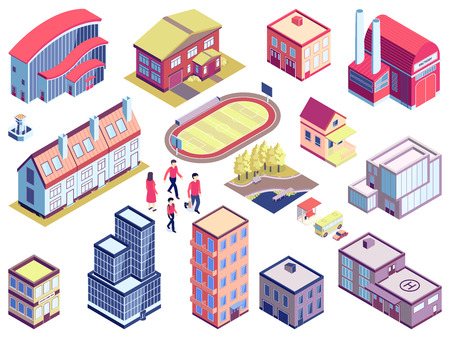 Isometric urban set with isolated images of people modern architecture and city buildings for different purposes vector illustration