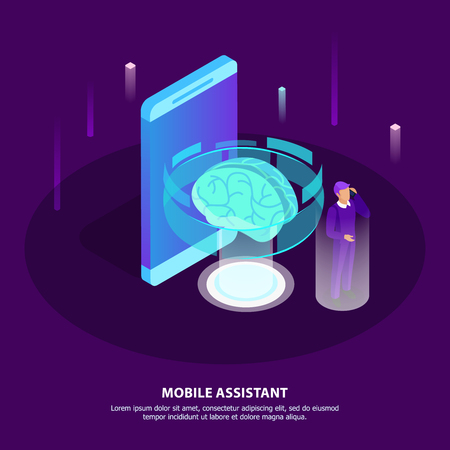 Mobile assistant isometric poster with glow brain as symbol artificial intelligence and man getting necessary information with mobile app in his smartphone vector illustration