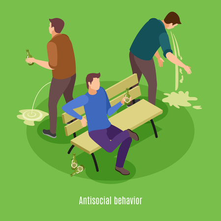 Alcoholism signs symptoms intoxication vomiting isometric background poster with addicted to excessive drinking man behavior vector illustration