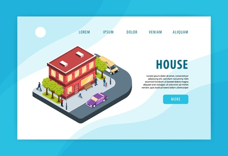 Modern city residential area house building adjacent street corner traffic environment concept isometric web page   vector illustration Archivio Fotografico - 124179408