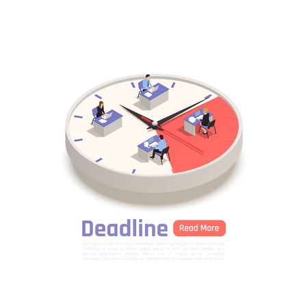 Deadline isometric design concept with team of employees sitting at their desks on big round clock vector illustration