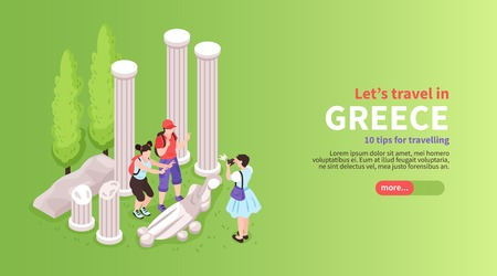 Greece tours trips activities online planner isometric website horizontal banner with tourists visiting temple ruins vector illustration Illustration