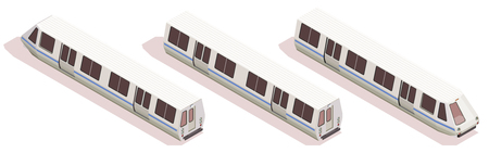 Transport isometric composition with three subway trains isolated on white background 3d vector illustration
