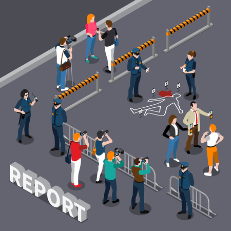 Photographer videographer isometric composition with roped-off area policemen and people near the scene of crime vector illustration