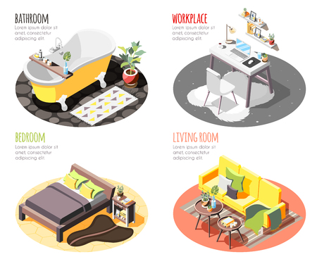 Loft interior isometric 4x1 set of compositions with images of domestic spots with furniture and text vector illustration 일러스트