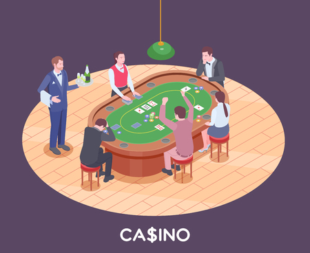 People playing poker in casino hall isometric composition 3d vector illustration Illustration