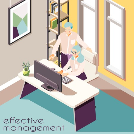 Effective management isometric background with indoor view of room with two human characters furniture and text vector illustration
