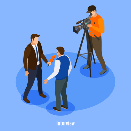 Broadcast telecommunication isometric background with shooting crew and man giving interview vector illustration