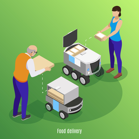 Food delivery isometric background with people loading boxes with pizza and sushi into self drive robotic cars  vector illustration Banque d'images - 124179414