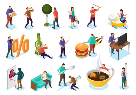 Isometric bad habits addiction set with isolated images icons of people and objects of their addiction vector illustration Illustration