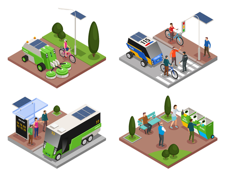 Smart urban ecology isometric 4x1 set of four compositions with electric vehicles refuse bins and people vector illustration