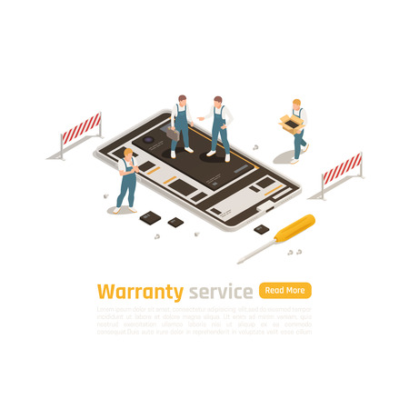 Warranty service isometric design concept with group of professionals engage in repair  and restoration electronic devices of high complexity vector illustration
