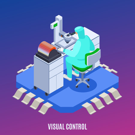 Semicondoctor production concept with visual control symbols isometric vector illustration