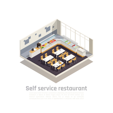 Self service restaurant isometric composition presented interior of cozy fast food eatery vector illustration
