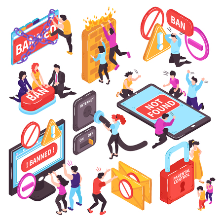 Isometric banned website prohibition set of isolated conceptual images with electronic devices pictogram icons and people vector illustration