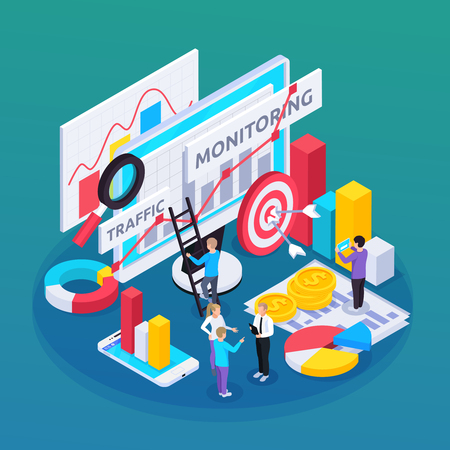SEO monitoring isometric composition with idea and goal symbols vector illustration
