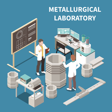Metal industry isometric composition with two people in metallurgical laboratory 3d vector illustration Zdjęcie Seryjne - 124179425