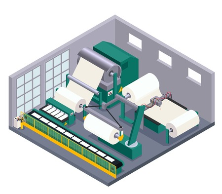Paper production with conveyor equipment and manufacture symbols isometric  vector illustration