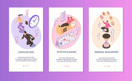 Time management vertical banners set of  stress factors effective planning personal development isolated compositions isometric vector illustration Stock Vector - 124179428