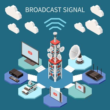 Difusión de composición isométrica con antenas de satélite y dispositivos electrónicos ilustración vectorial 3d