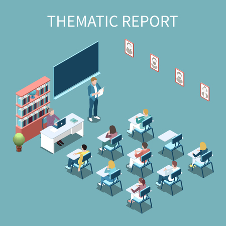 University student making thematic report in front of class isometric composition 3d vector illustration Ilustração