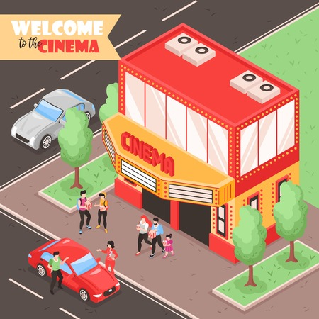 Isometric movie cinema composition with outdoor view of city street with cars people and theater building vector illustration