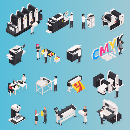 Printing house icons set with polygraphy symbols isometric isolated vector illustration Illustration